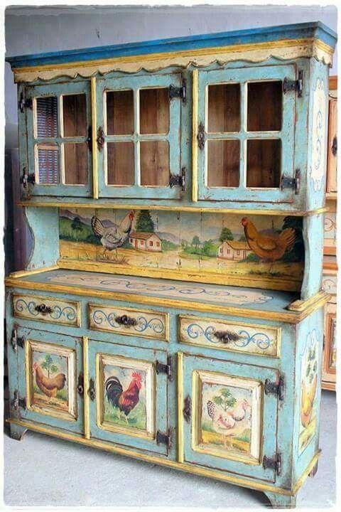 Painted China Hutch Farmhouse