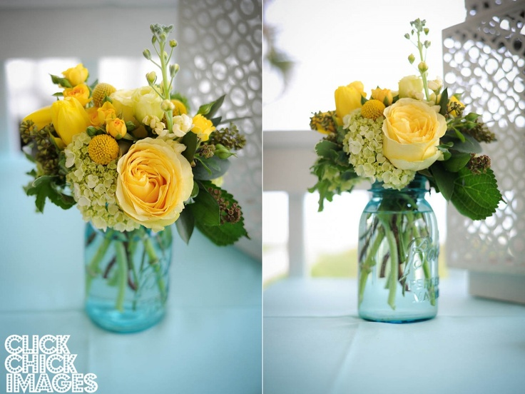 Yellow Flowers In A Blue Mason Jar Add Such Pretty Touch To Wedding Tables