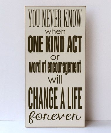 Cream & Brown 'Change a Life' Wall Sign #zulily #zulilyfinds