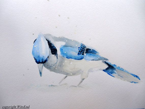 BlueJay watercolor painting original Bird art winter by 4WitsEnd