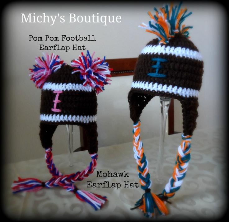 Soft Shells Baby Earflap Hat Crochet Pattern : Crochet Pom Pom or Mohawk Football Earflap Hat Newborn ...
