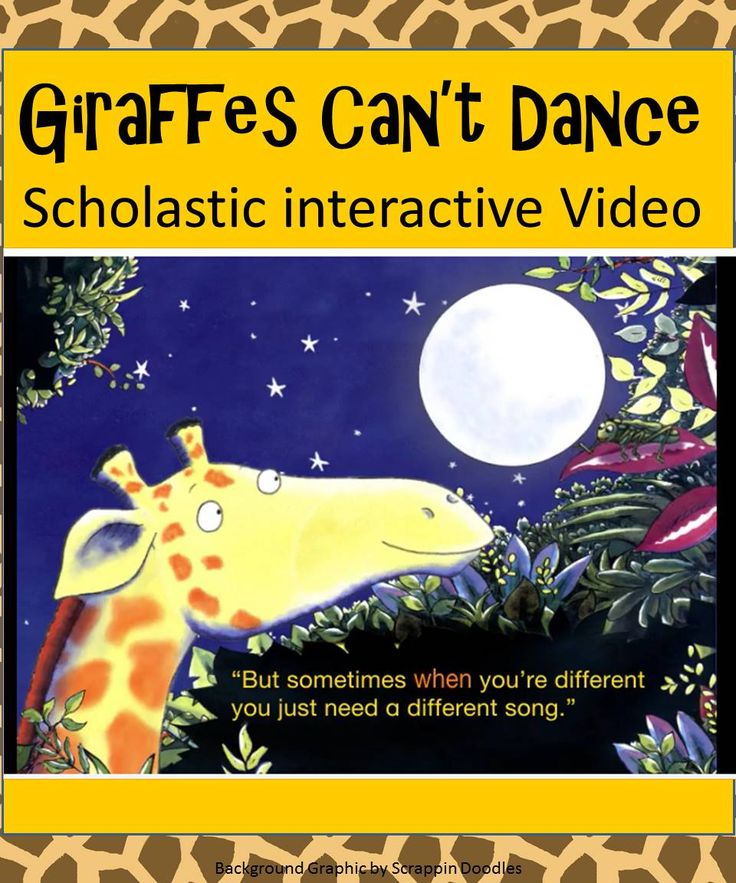 Adorable animated video by Scholastic of Giraffes Can't Dance. Love this book! - growth mindset interactive book
