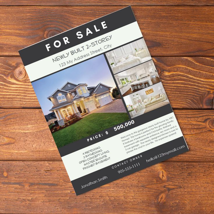 Real Estate Flyer PDF Fillable- Charcoal and Mint