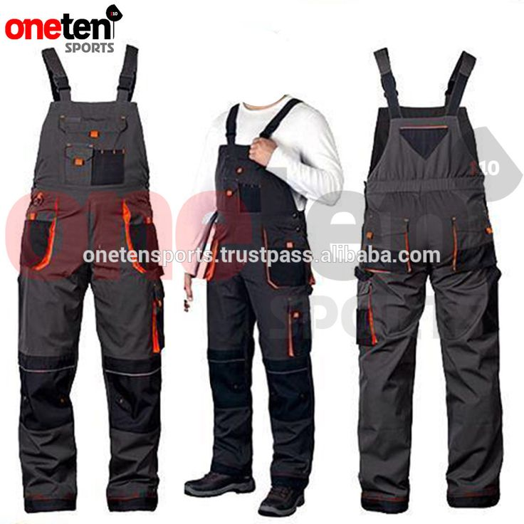 Multi Pocket Dungarees Bib and Brace Overalls Mens Work Trousers Knee Pad / working wear