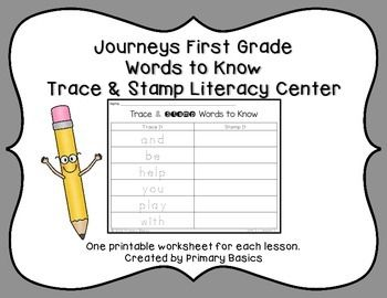 One printable worksheet for each lesson of Journeys First Grade sight words or words to know. Students will trace and stamp each word. Requires small stamps. More Journeys First Grade Literacy CentersRainbow Writing Journeys First Grade Spelling WordsJourneys First Grade Words to Know Roll and WriteCreated by Primary Basics