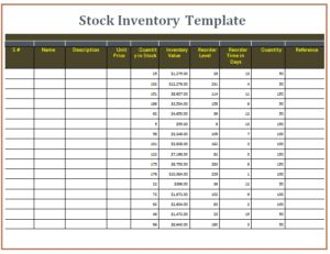 Stock Inventory Templates | Free Word Templates
