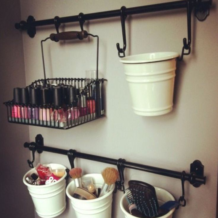 Hanging buckets as makeup storage ❤️