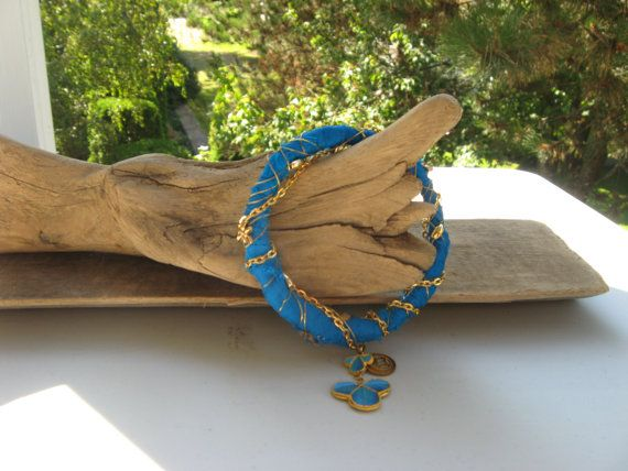 banglesarisilkgold wiregold chainbutterfly beads by Voweco on Etsy