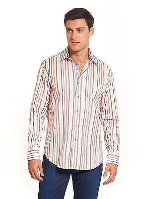 NWT ROBERT GRAHAM XL shirt multi-color striped with paisley cuffs men's