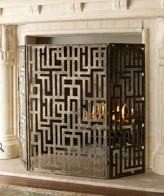 love this fretwork fireplace screen