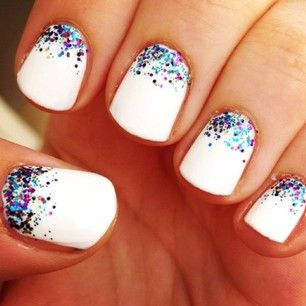White nails with colorful glitter