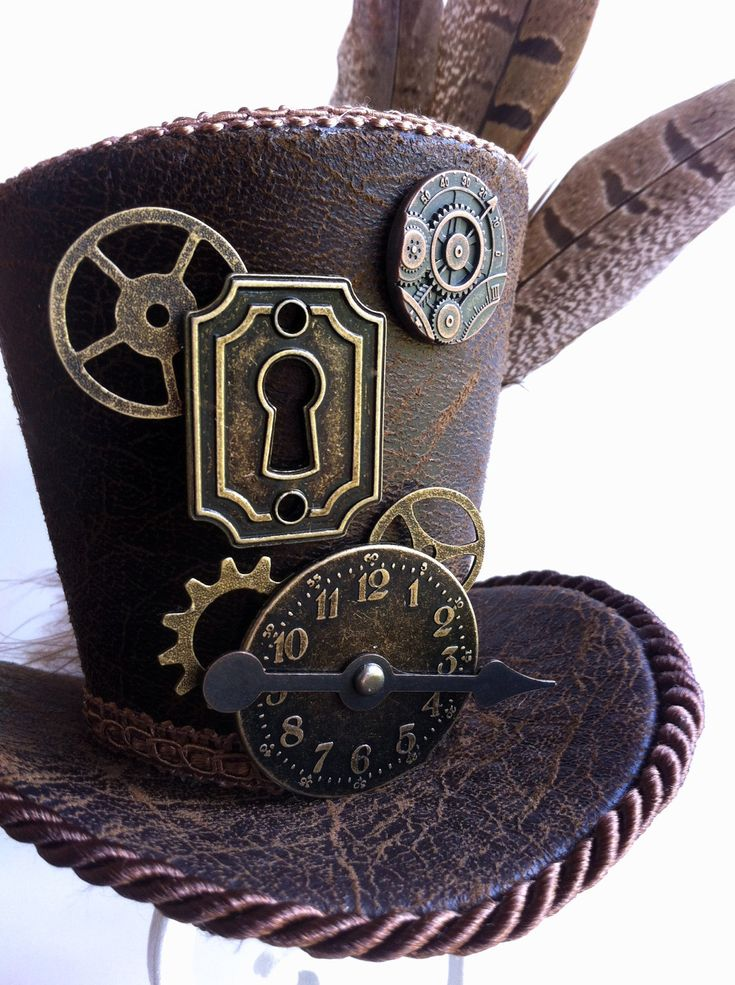 Tiny Top Hat - Steampunk - Mini Top Hat -  Brown Faux Leather, Clock, Gears, Keyhole. $70.00, via Etsy.