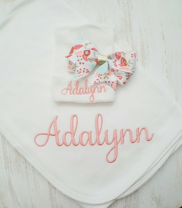 Personalized baby girl blanket and hospital hat- floral baby, receiving blanket, newborn hospital hat, embroidered blanket, 30x40 in