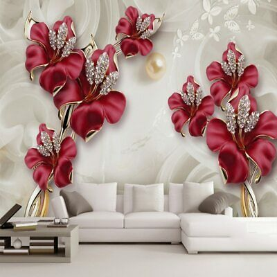 Details about Home Mural Wallpaper For Bedroom Living Room 3D Photo Beautiful Jewelry Flower