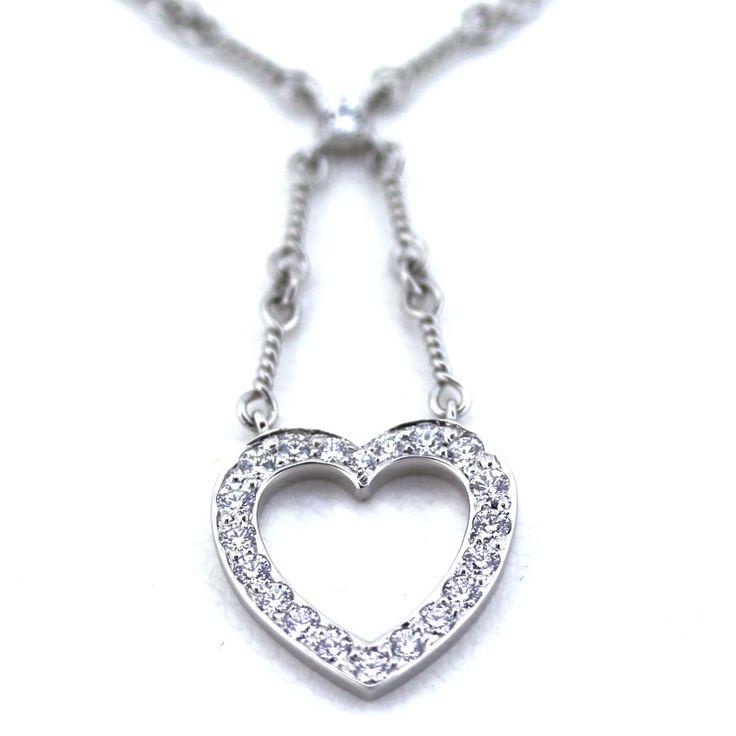 【中古】Tiffany&Co.(ティファニー) センチメンタル ハート ネックレス Pt950 プラチナ ダイヤ/ハートモチーフにダイヤをあしらったセンチメンタルネックレスです。キラキラと輝くダイヤがゴージャス感を漂わせ胸元をさり気なく華やかにしてくれます。/新品同様・極美品・美品の中古ブランドバッグを格安で提供いたします。
