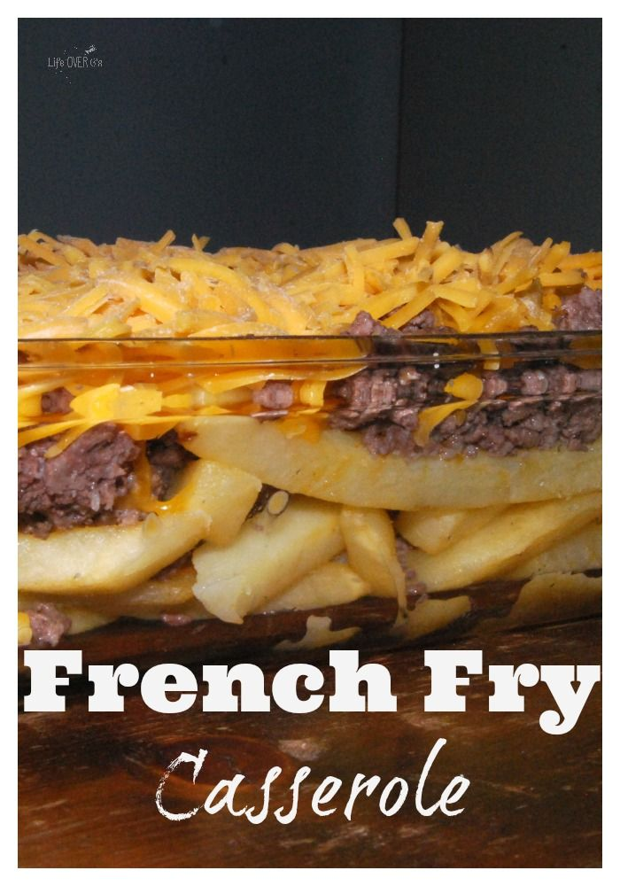 French fries, hamburger meat and cheese = DELICIOUS! There are so many different variations that you can create with this basic french fry casserole. Add lettuce, seasoned fries, chipotle sauce, tomatoes, mustard or whatever else your heart desires. Or your tastebuds, whichever one you follow while making dinner. <em class=short_underline>  </em> French fry casserole is a super easy dinner on a busy night. As you can tell, I li...