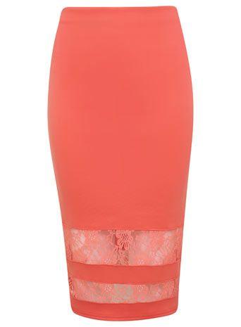 Peach Lace Insert Skirt