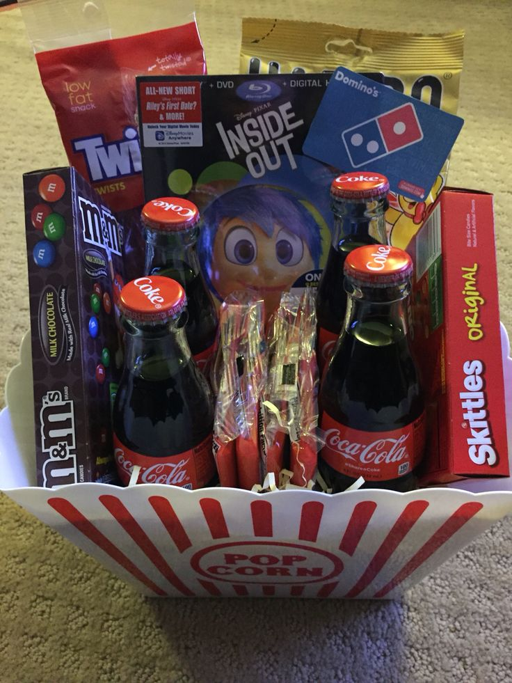 Family movie night basket that our school will raffle off during our movie night.