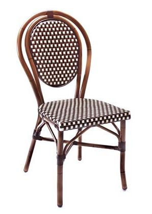 Dimensions Width:450 mm.  Height:910 mm.  Depth:520 mm.  Seat Height:450 mm.  Weight:3.3 Kg.  Product Description Origin: CHINASeat & Back: UV STABLISED SYNTHETIC WICKER Frame: ALUMINIUM TUBEColours: FRAME - DARK BAMBOO   SEAT & BACK - RED / CREAM - BROWN / CREAM - BROWN / BLACK                                                                              Warranty: 12 MONTHS   Suitability: OUTDOOR   Other Information:   ALUM. TUBE 28 x 1.5MM STACKABLE 7 HIGH PLASTIC FOOT CAPS