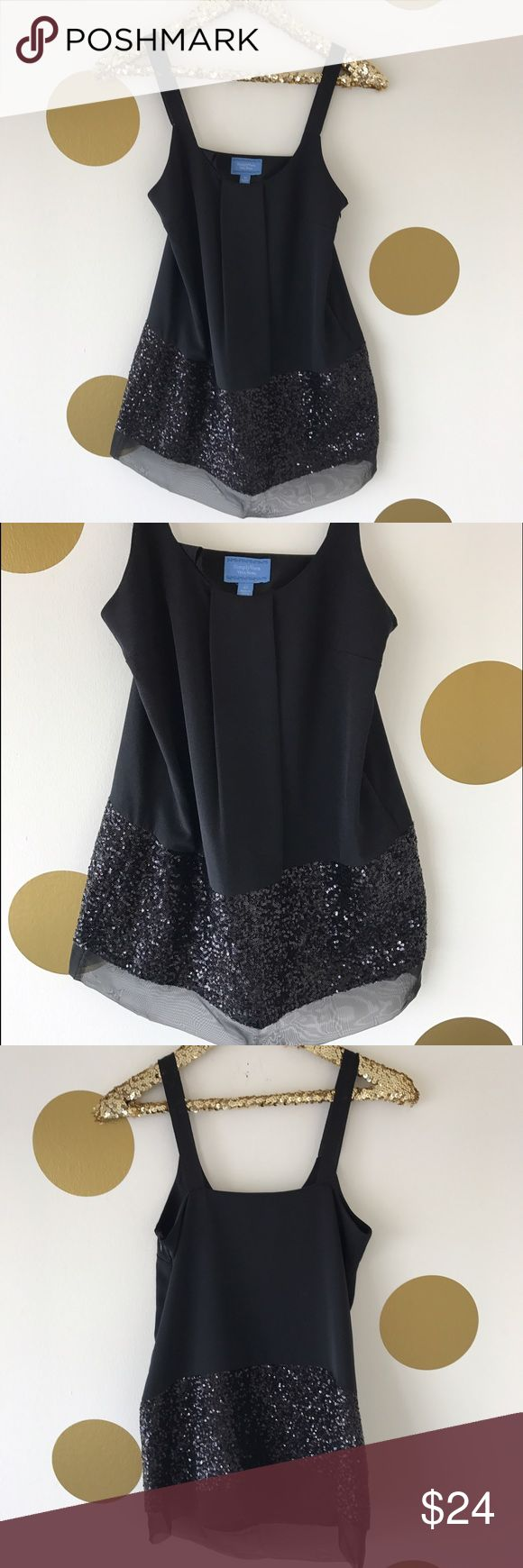 "Simply Vera Wang Sequin Trim Tunic I'm only 5'0"" so I wore this as a dress. It hit me mid-thigh. It is supposed to be a tunic though and would look beautiful over leather leggings or skinny jeans. Size XS Simply Vera Vera Wang Tops Tank Tops"