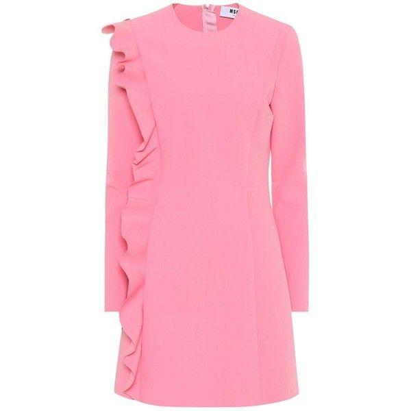 MSGM Crêpe Minidress ($550) ❤ liked on Polyvore featuring dresses, pink, short dresses, pink dress, mini dress, crepe dress and msgm dress