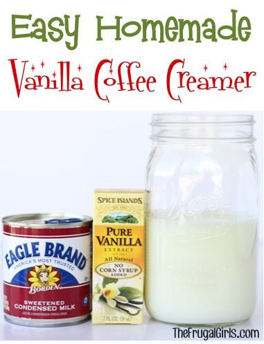 Easy Homemade Vanilla Coffee Creamer Recipe! ~ from TheFrugalGirls.com - just 3 ingredients and SO delicious!
