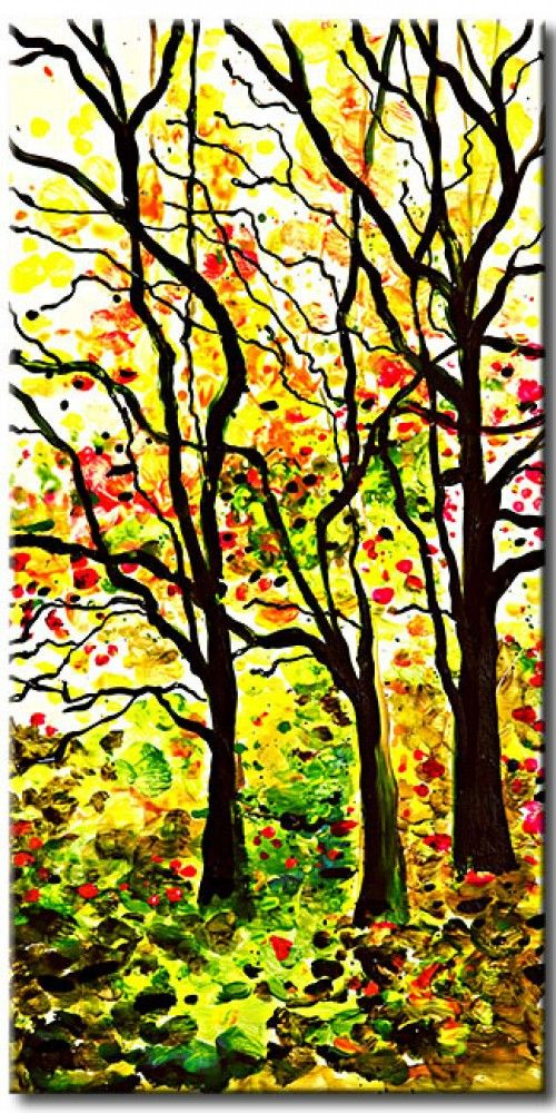 Simple, yet breathtaking - vibrant painting of summer forest in warm colour palette - canvas art for every art lover!