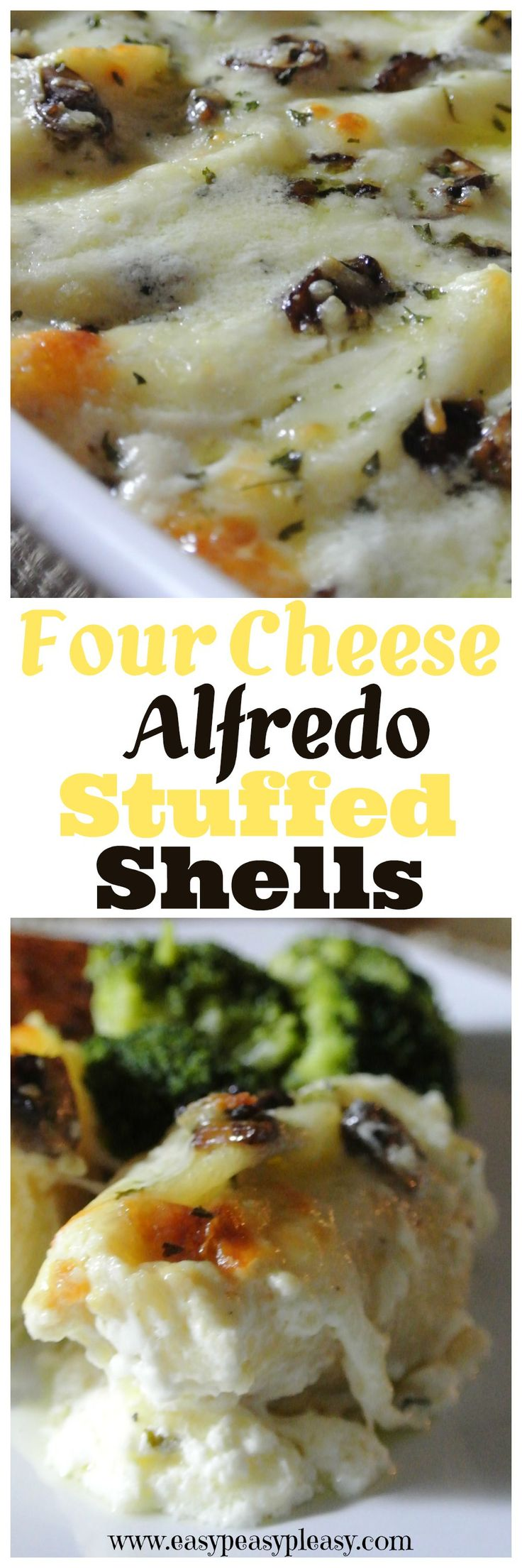 This is one of my all time favorite dishes! The Alfredo sauce is super easy and so delicious over the four cheese stuffed shells. This dish is a great freezer meal option!