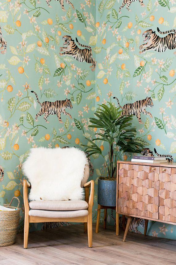 Tiger Wallpaper Jungle Wallpaper Tropical Wallpaper Jungle Etsy In 2021 Tiger Wallpaper Jungle Wallpaper Tropical Wallpaper