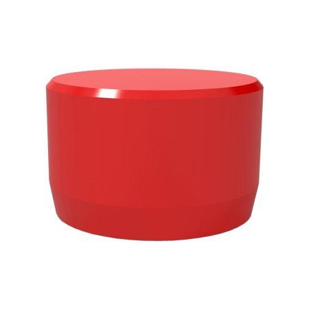 PVC Pipeworks 1 inch Flat End PVC Furniture Grade Cap in Red - External Fit (4-Pack)