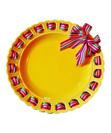 This Yellow Stripe Ribbon Prissy Plate By Prissy Plates Is