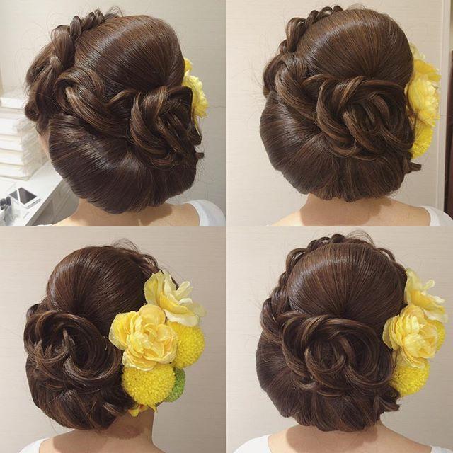 黄色い花がいっぱい☺︎✨ 写真映えする動きをつけて☺️ モデルlong hair #hair #hairdo #hairstylist #hairmake #bridalhair #bride #bridal #brides #WEDDING #weddinghair #wedding #ヘアセット #ヘアスタイル #ヘアメイク #ヘアアレンジ #美容師 #ウェディング #ブライダル #結婚式 #前撮り #花 #和装 #和装髪型 #ウェーブ #花嫁髪型 #黄色