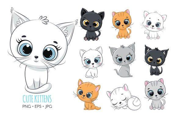 Cute Kitten Clipart Pet Illustration Png Eps Jpg Kids Clipart In 2021 Cute Animal Clipart Cat Clipart Kittens Cutest
