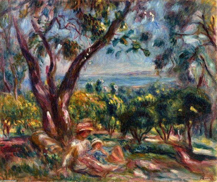 """""""Paysage de Cagnes avec Femme et Enfant"""", huile sur toile de Pierre-Auguste Renoir (1841-1919, France)"""