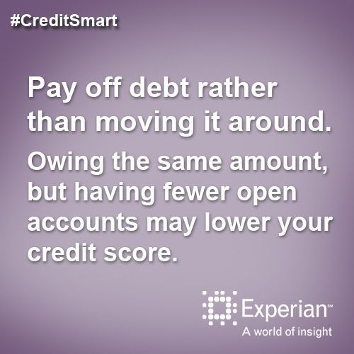 Pay off debt rather than moving it around. Owing the same amount but having fewer open accounts may lower your credit score.  http://www.experian.com/credit-education/improve-credit-score.html#SomeSuggestions Credit Scores, #CreditScores