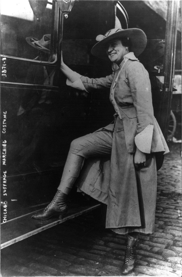 A Chicago suffragist marches in pants...the evolution of the pant in history 1900s women vintage fashion style