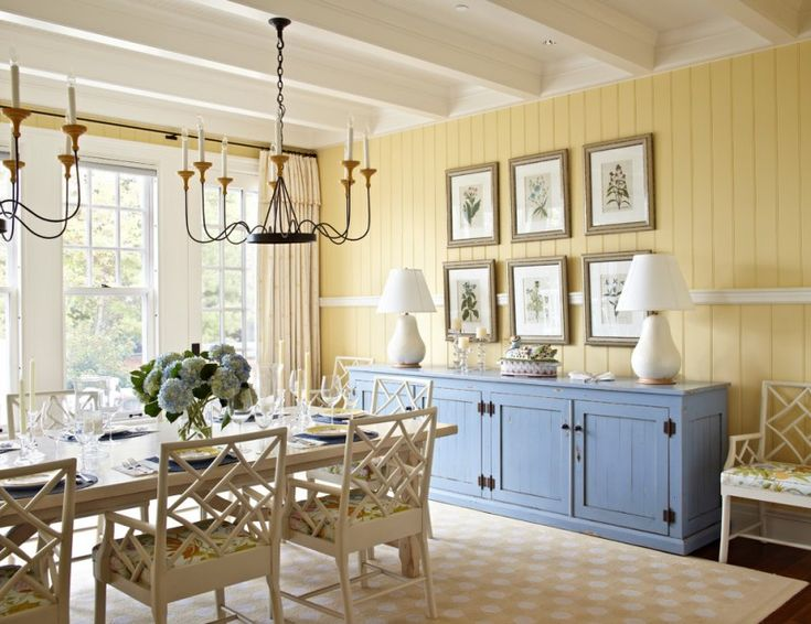 light yellow siding walls blue accent storage pale toned wood chairs with flower patterned seaters light orange area rug with white accent motifs of Brilliant Ideas of Wall Combination for Light Yellow