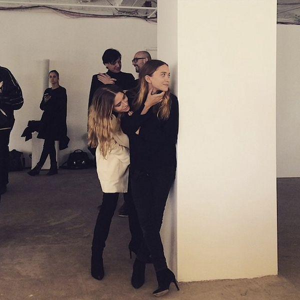 Mary-Kate & Ashley Olsen backstage at The Row F/W 2015 #style #fashion #mka