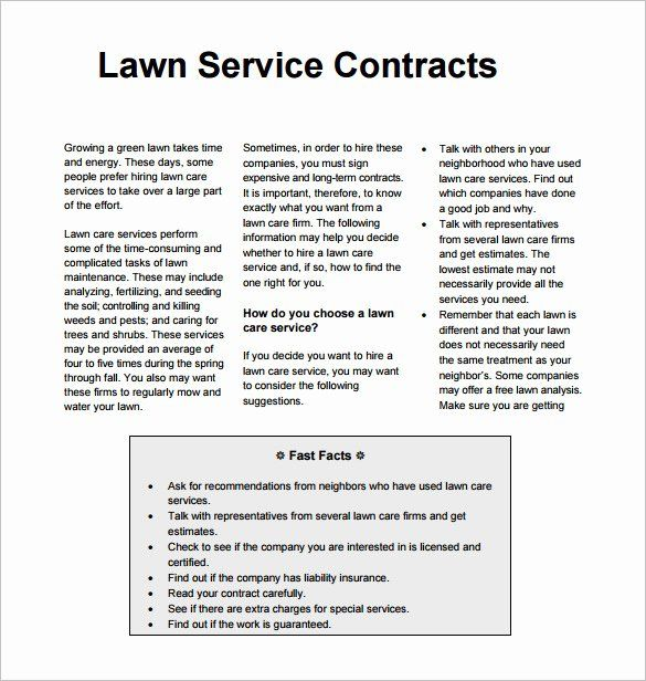Landscape Maintenance Contract Template Fresh Lawn Mowing Contract Template Templates Resume In 2020 Lawn Service Lawn Care Contract Template