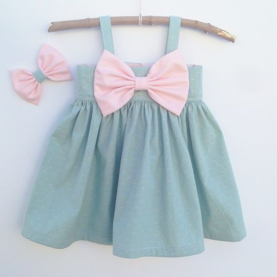 Image of Big Bow Dress || Sage Green with Blush Pink Bow