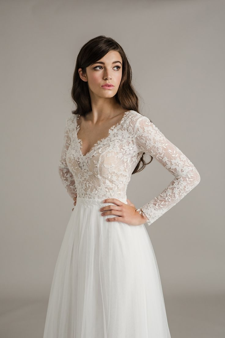 Look at those gorgeous lace sleeves! Sally Eagle Wedding Dress with lace sleeves, Genevieve