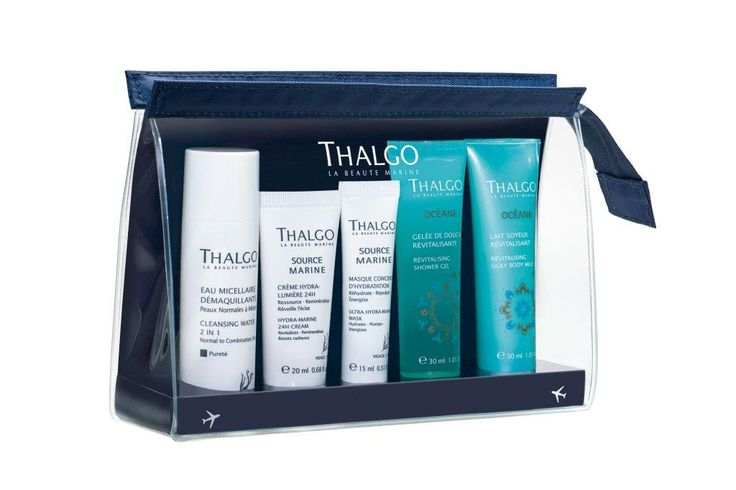 Take your Thalgo skincare essentials with you with the 2015 Travel Kit! Contains mini Cleansing Water 2 in 1, Hydra-Marine 24h Cream, Hydra-Marine 24h Serum, Océane Shower Gel and Océane Silky Body Milk.