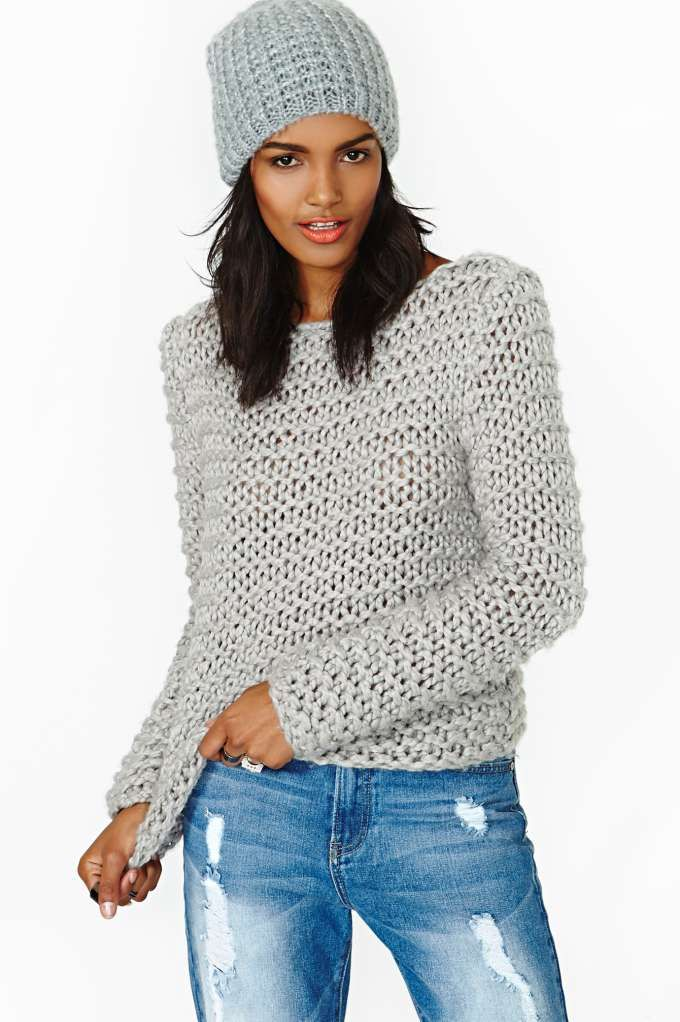 Chunky Grey Knit Sweater