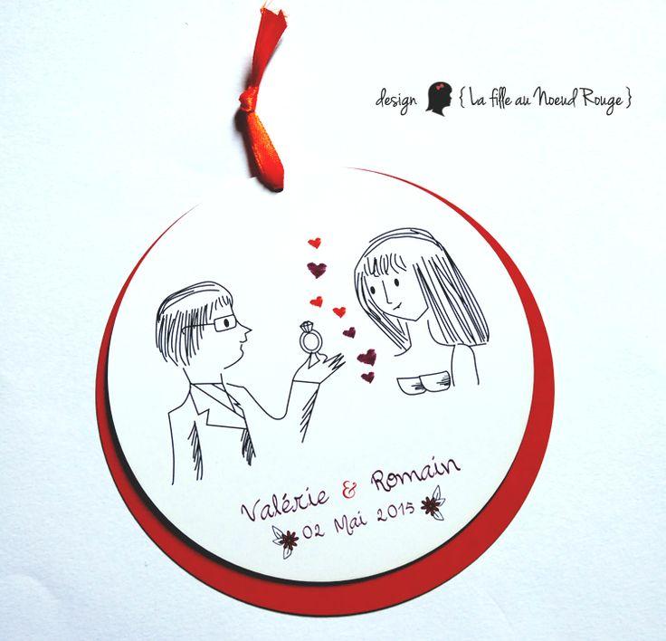 La fille au Noeud Rouge - faire-part sur-mesure et décoration papeteries mariage, naissance, baptême: Le faire-part tout en rondeur de V&R #prune #violet #orange #dessin #coupon #fleurs #coeur