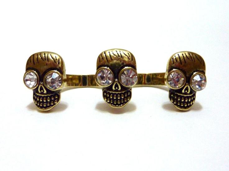 Bronze Skull Double Finger Ring. $12.00, via Etsy.
