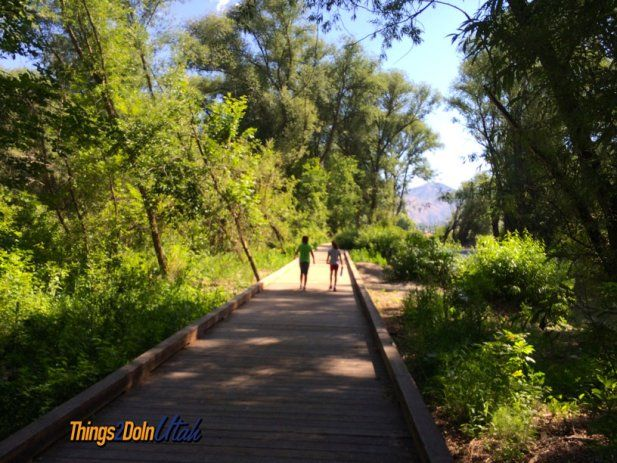 Rendezvous Park walking trail in #Logan #Utah - beautiful board walk and great river for throwing rocks and just enjoying the day.