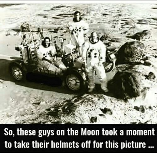 Astronauts Remove Their Helmets During 'Moon Landing' In Misleading Photo