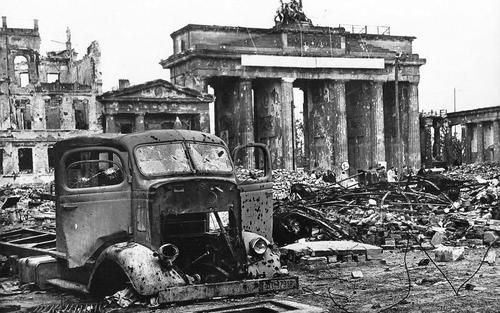 The Brandenburg Gate after the Battle of Berlin, 1945
