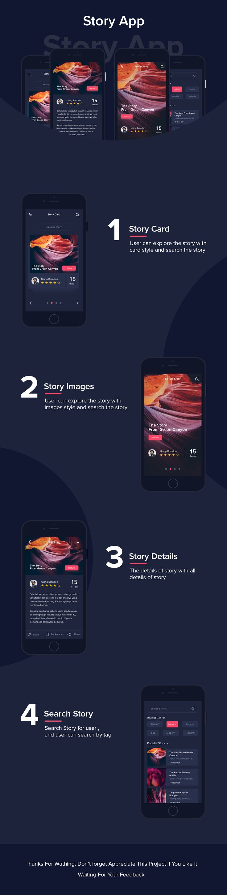 story app, with dark clean design , waiting for your feedbackdon't  forget for appreciate this project if you like itavailable for work : Rikosapto@gmail.com