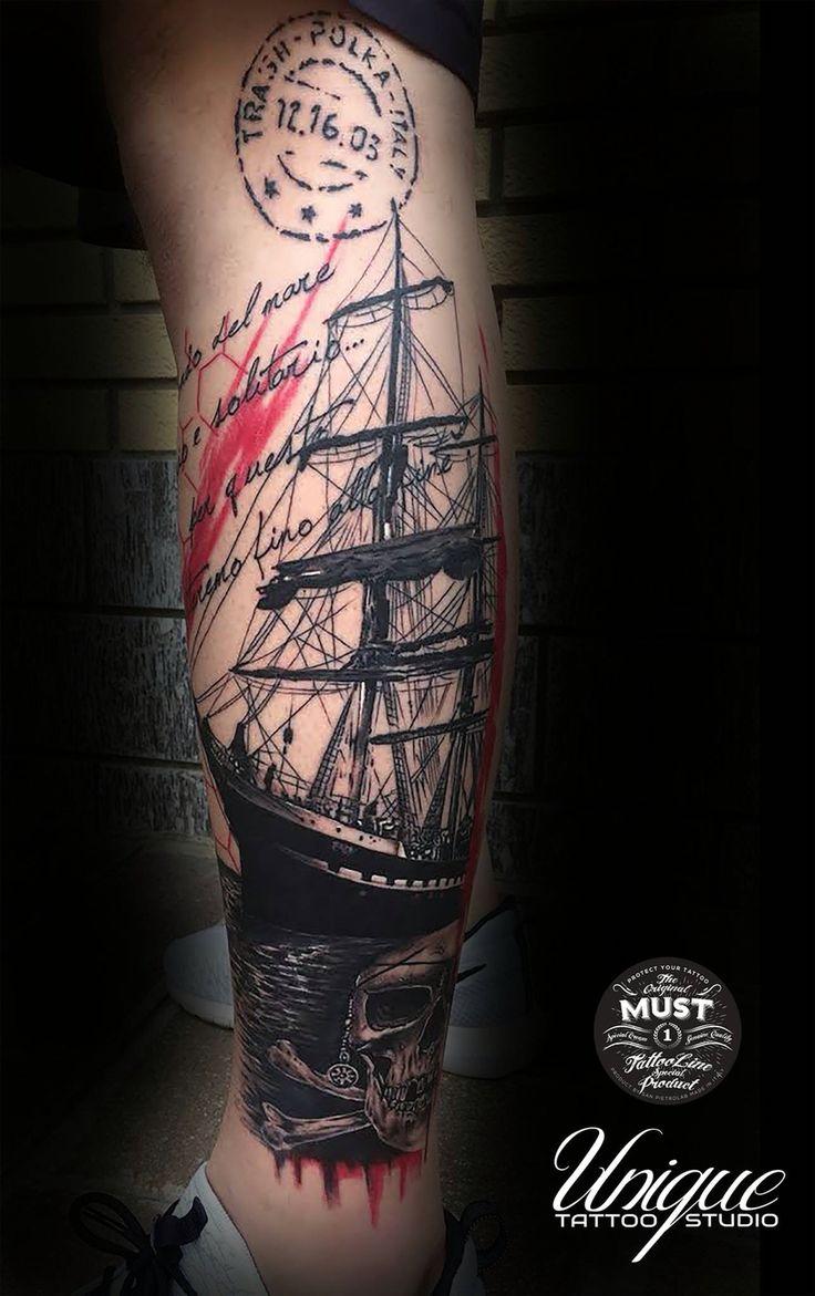 Trash polka Tattoo: Sailing Ship - Third award - Tattoo Show La Spezia Italy